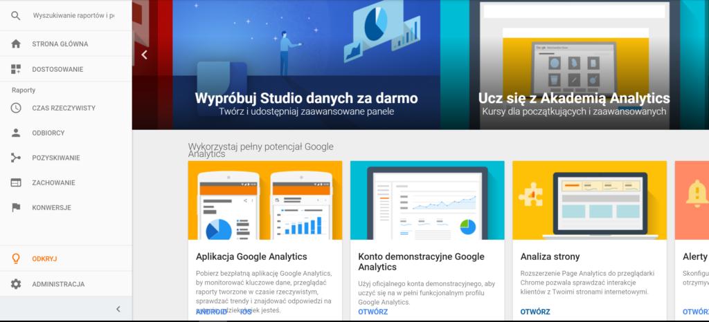 Zakładka Odkryj w Google Analytics