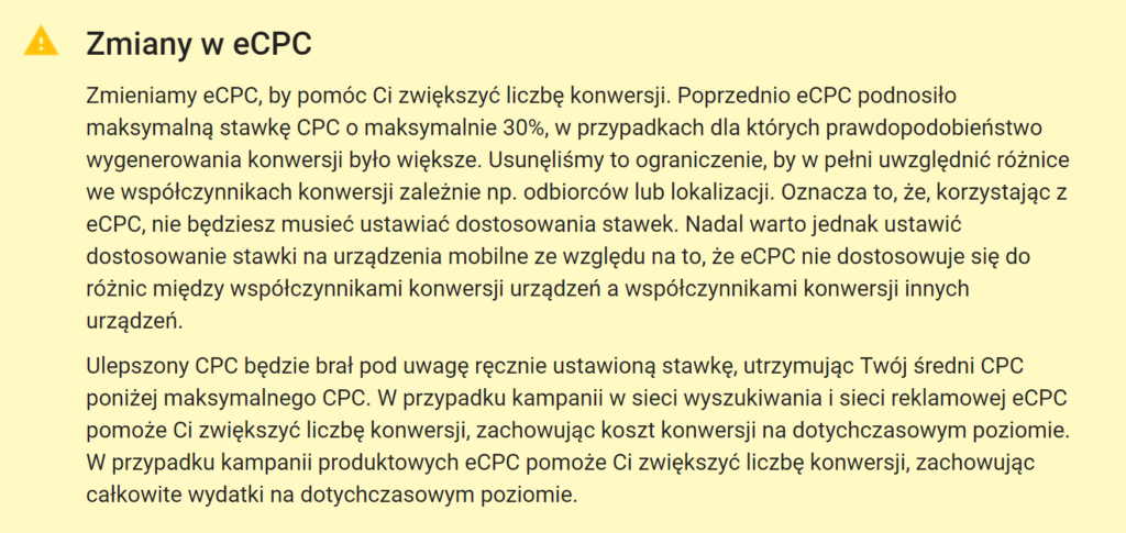 Ulepszone CPC - zmiany