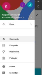 Menu - Aplikacja Google AdWords