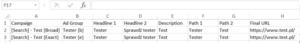 Edytor Google AdWords - Szablon CSV - Test reklamy