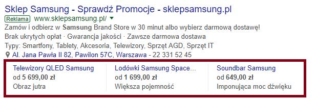 Rozszerzenia cen AdWords