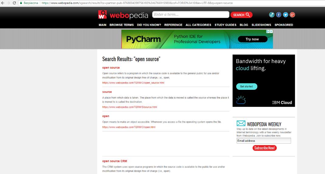 Wyszukiwarka Webopedia