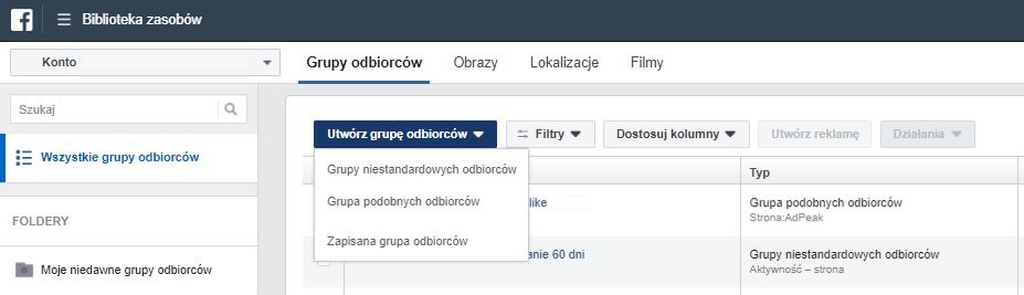 Tworzenie grup odbiorców na Facebooku