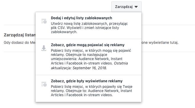 Pobieranie listy zablokowanych witryn na Facebooku