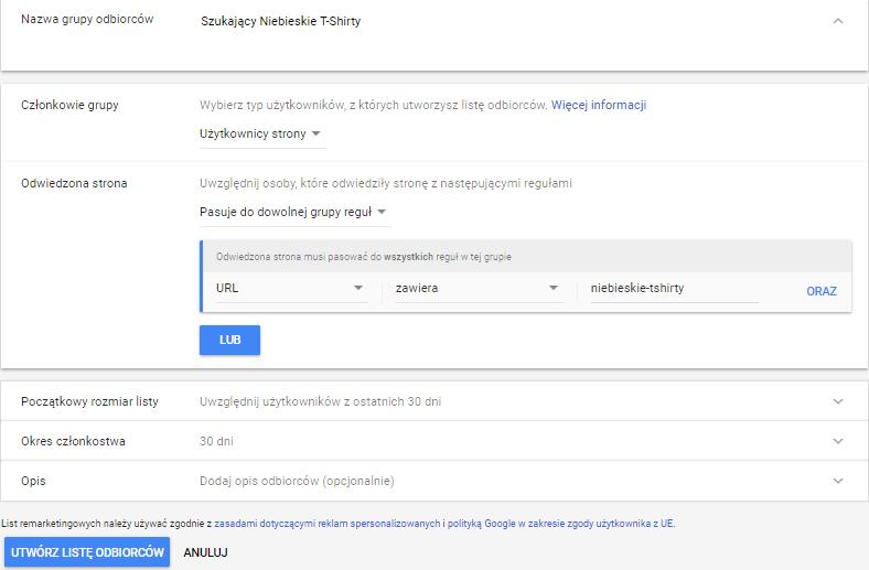 Remarketing Użytkownicy Witryny