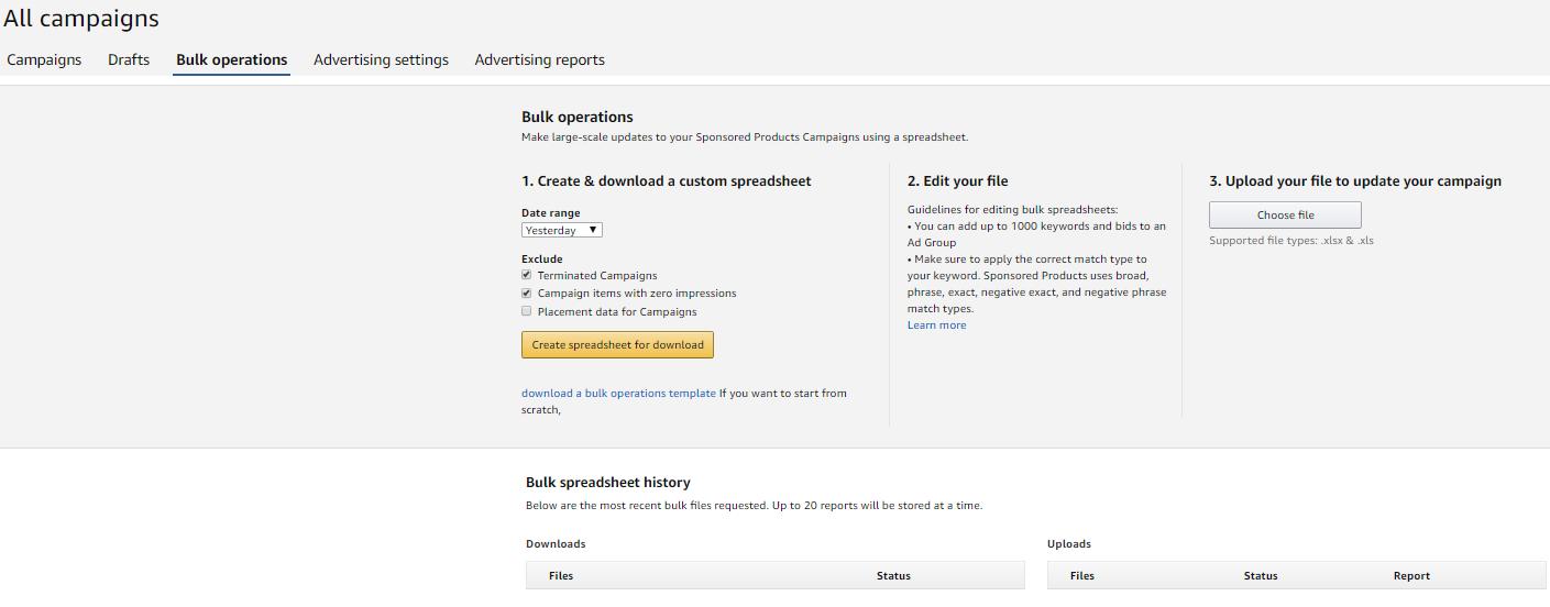 Bulk Operations Amazon Ads