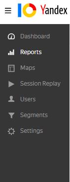 Interface yandex metrica