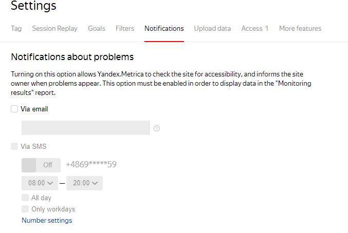 yandex metrica powiadomienia