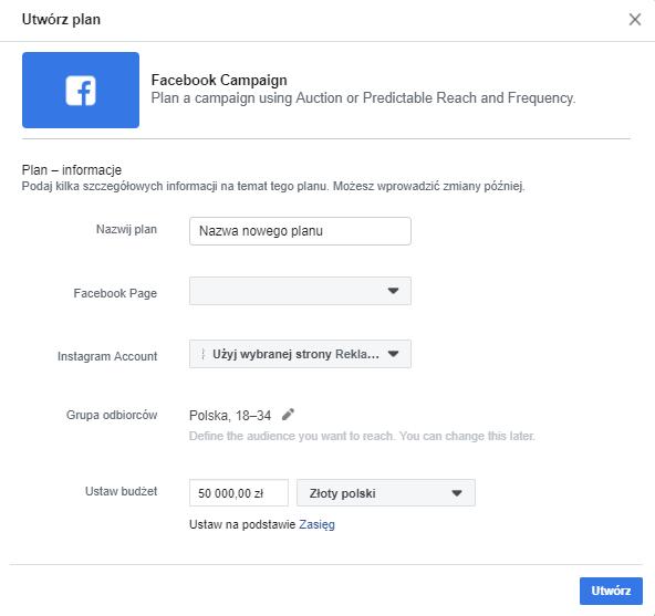 planowanie kampanii na facebooku