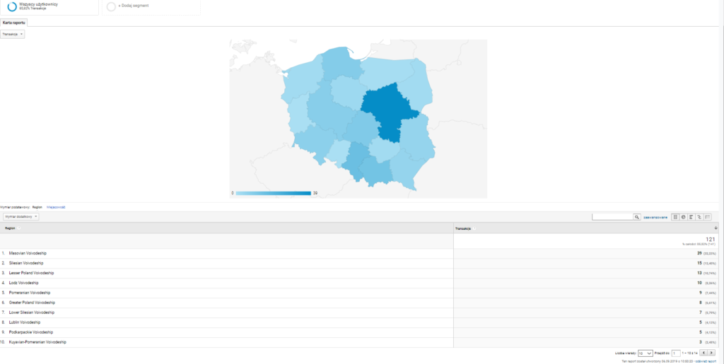 Rodzaje raportów niestandardowych - Nakładka mapy