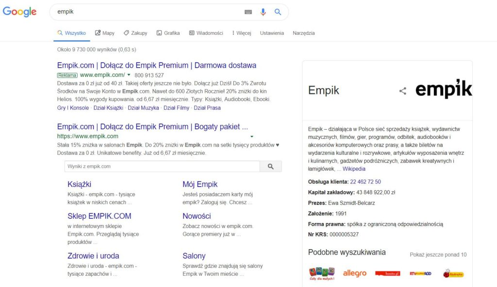 kampania brandowa w wynikach wyszukiwania