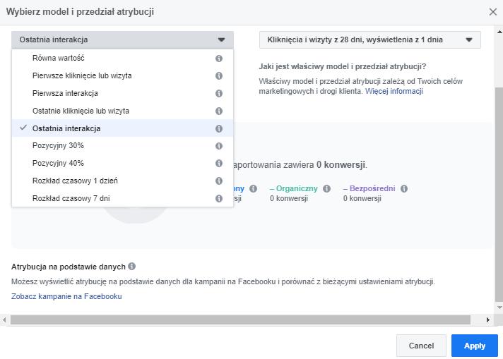 Model i przedział atrybucji Facebook Attribution