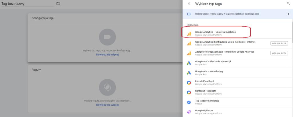 Tag zdarzenia Google Analytics