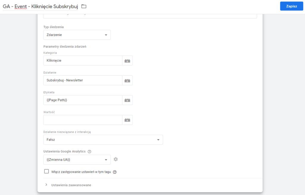Konfiguracja zdarzeń w Google Tag Manager