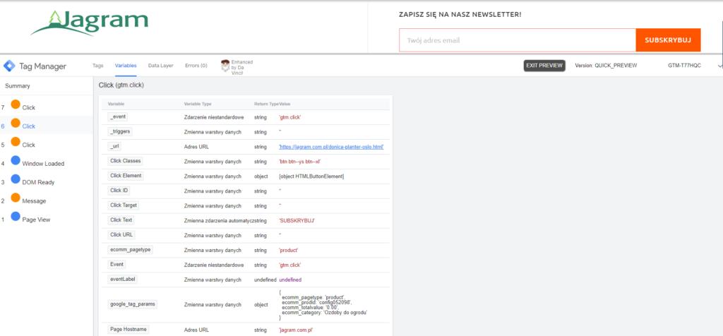 Tryb podglądu Google Tag Manager