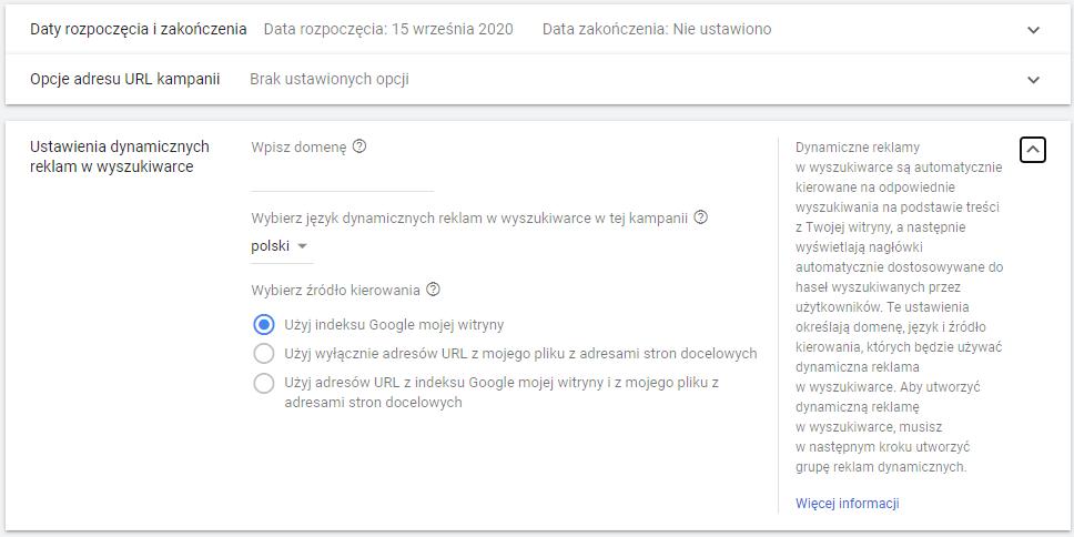 Kampania DSA w Google Ads - ustawienia dynamicznych reklam w wyszukiwarce
