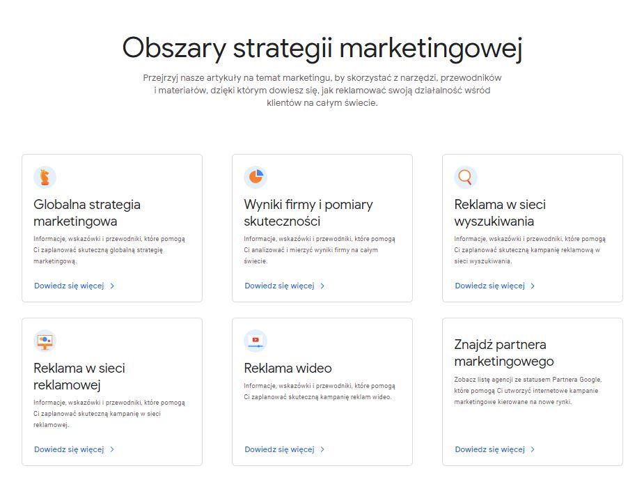 Baza artykułów na temat obszarów strategii marketingowych dostępnych w Market Finderze