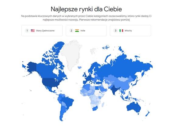 Market Finder wygląd wyników na mapie poglądowej