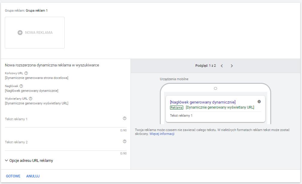 Kampania DSA w Google Ads - tworzenie reklamy dynamicznej