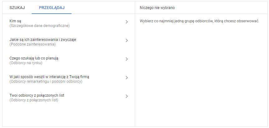 Google Ads - kierowanie na odbiorców