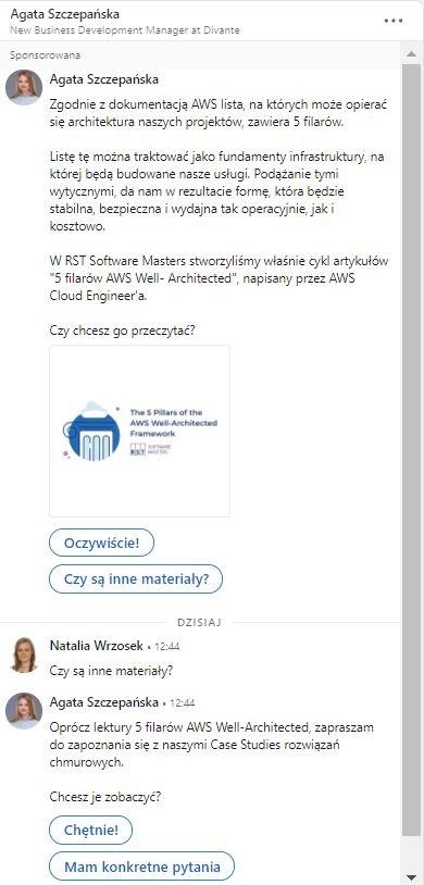 Reklama na LinkedIn - przykład reklamy konwersacyjnej
