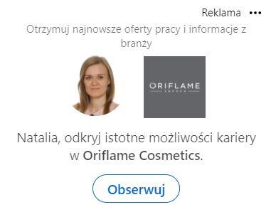 LinkedIn Ads - przykład reklamy spotlight