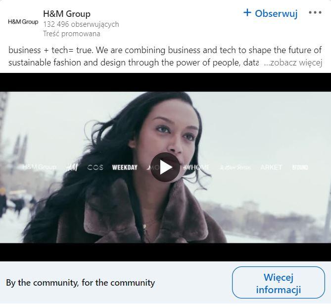 Przykład reklamy wideo na LinkedIn