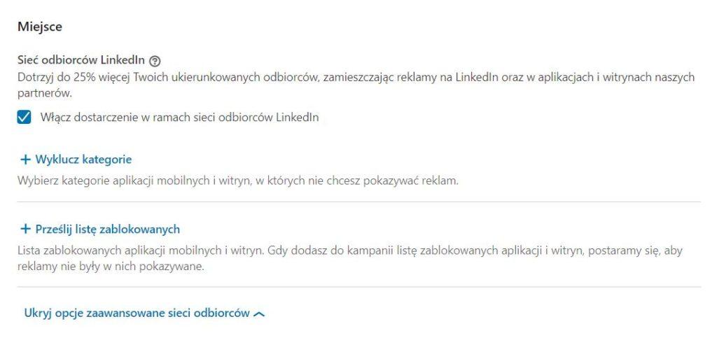 LinkedIn Audience Network - wykluczenia aplikacji i witryn z kierowania reklam